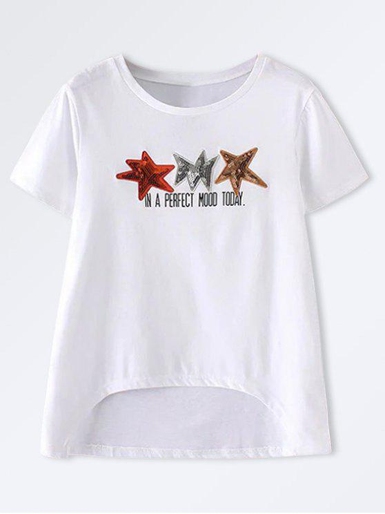 Star Patched High Low Camiseta - Blanco L