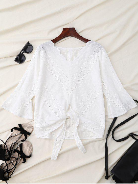 affordable V Neck Front Knot Flare Sleeve Blouse - WHITE L