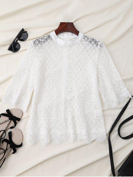 latest Sheer Scalloped Lace Blouse - WHITE L