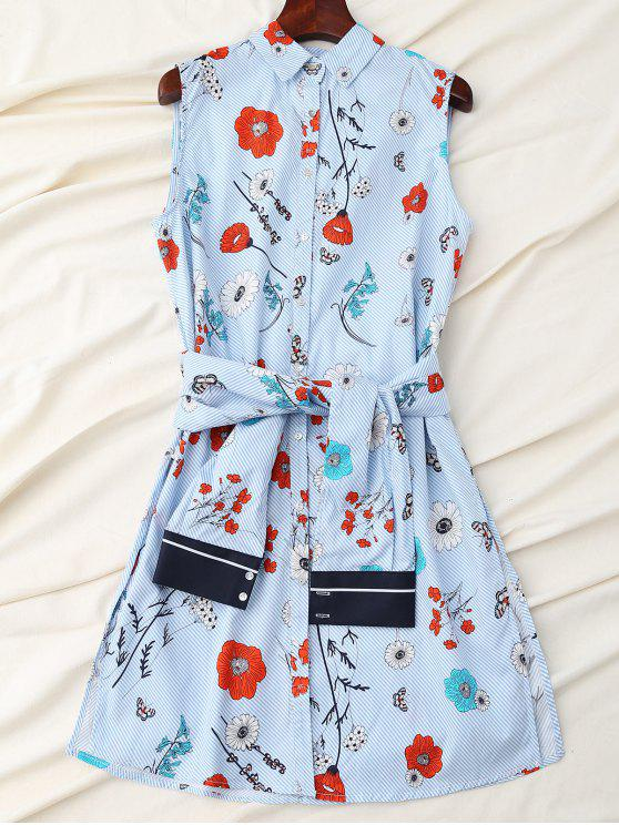 ladies Floral Striped Shirt Dress With Sleeve Belt - BLUE L