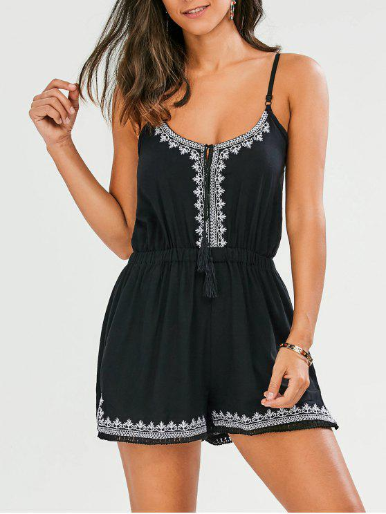trendy Embroidered Spaghetti Straps Romper - BLACK L