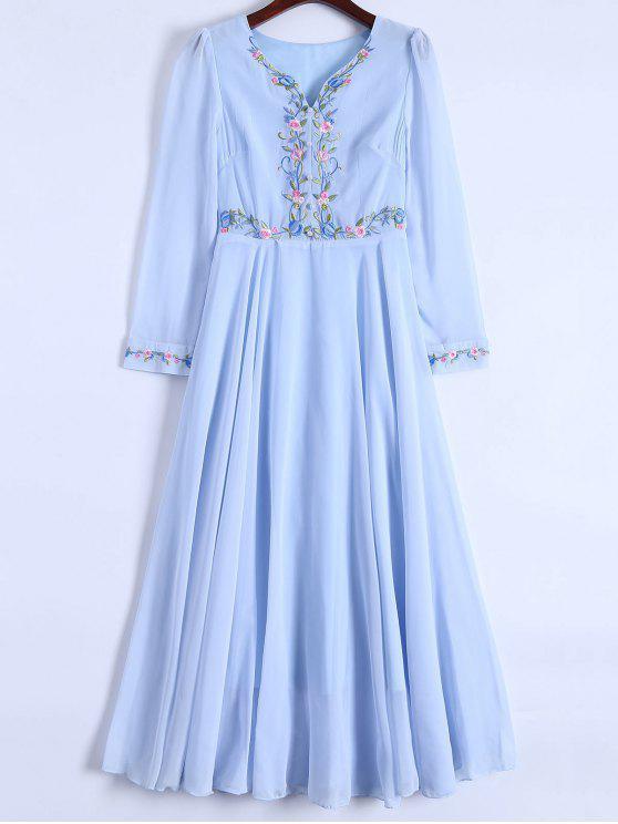 Floral bordado manga larga vestido de gasa - Azul Claro L