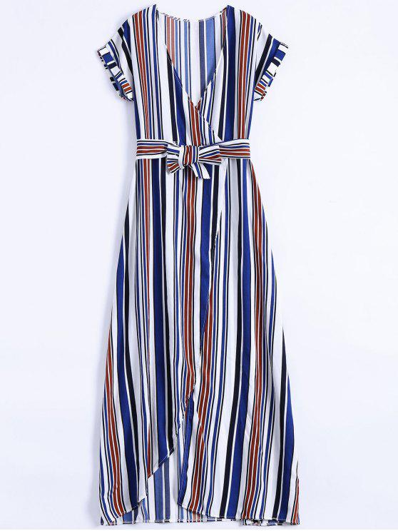 Maxi Vestido a Rayas con Escote de Plegado Oblicuo con Abertura Lateral Alta - Azul S