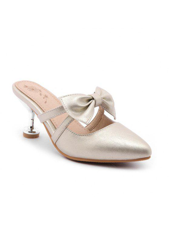 fashion Strange Heel Mules Shoes with Bow - GOLDEN 38
