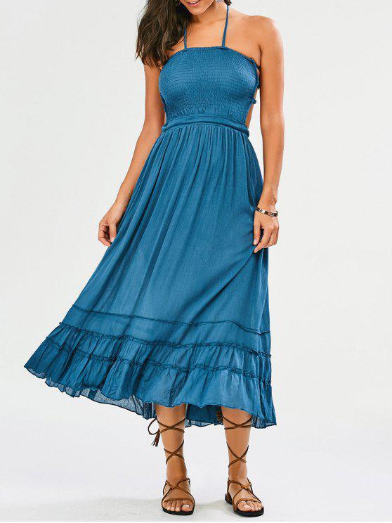 Vestido de fiesta largo con espalda empotrada con espalda - Azul Claro S