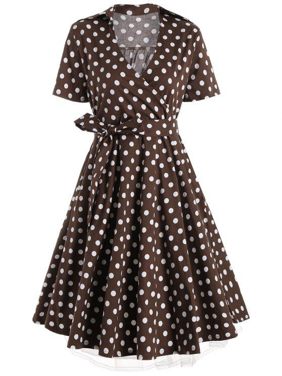 latest Plus Size A Line Polka Dot Casual Dress - COFFEE 2XL