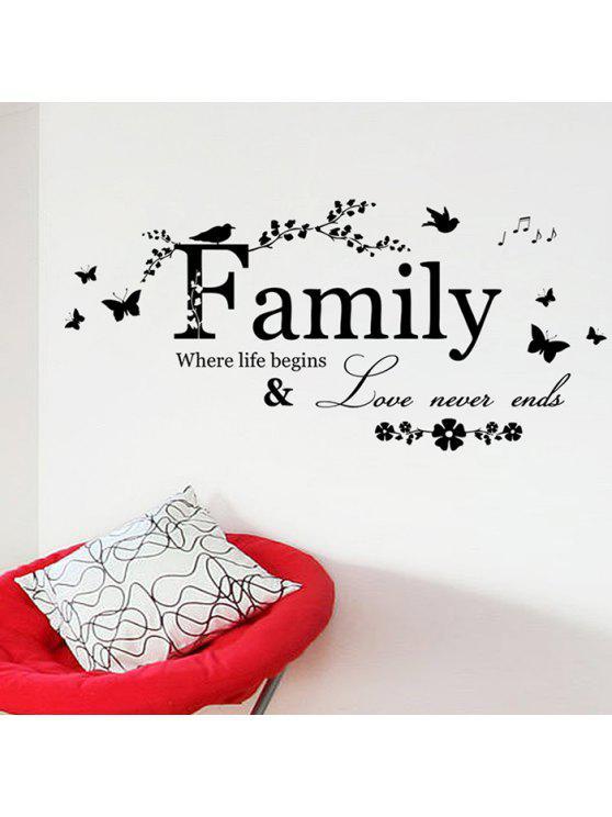 فراشة الأسرة اقتباس ملصقات الحائط - أسود