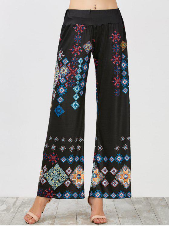 Cintura elástica perna larga impressa calças - Preto L