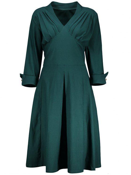 V Neck A Line Plus Size Tea Length Dress BLACKISH GREEN