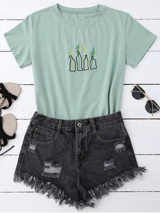 Hot 2018 Plant Embroidered T Shirt In Pea Green One Size Zaful