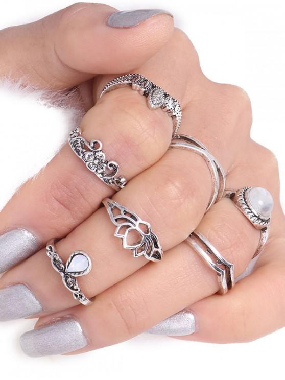 Set de anillos gitanos de flores de hoja de lágrima - Plata