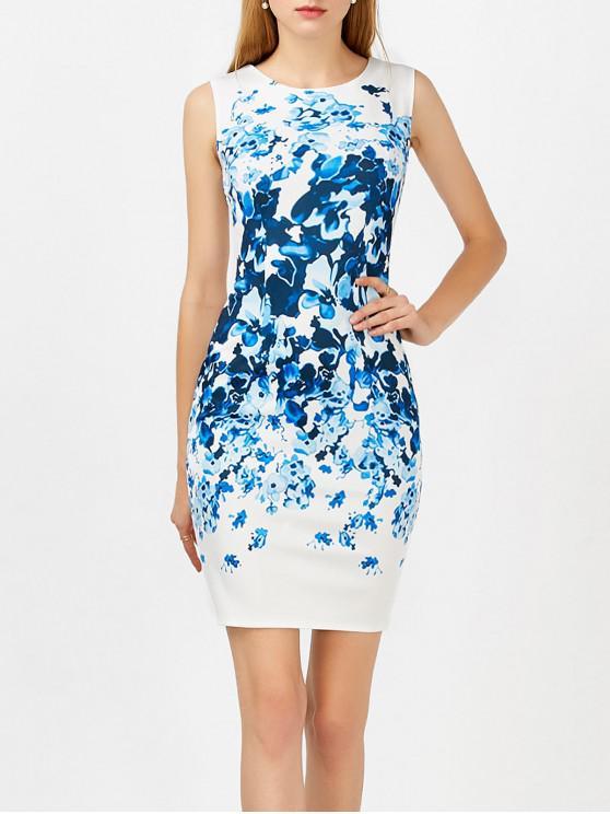 فستان طباعة الأزهار بلا أكمام - أزرق M