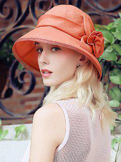 Flower Embellished Mesh Spliced Sunproof Bucket Hat - Orange Red