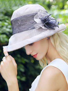 Malla De Encaje Empalmado Flower Bucket Hat - Gris
