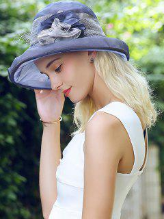 Mesh Lace Spliced Flower Bucket Hat - Pearl Indigo Blue