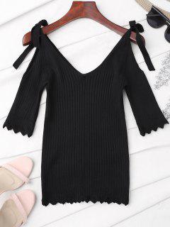 Scalloped Cold Shoulder Knitted Top - Black
