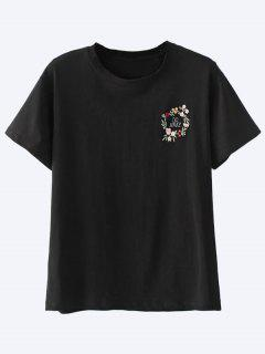 Cotton Embroidered T-Shirt - Black S