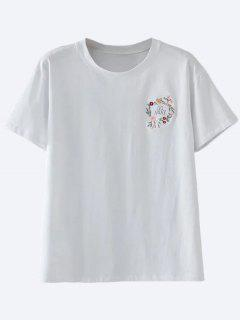 Cotton Embroidered T-Shirt - White M