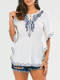 Butterfly Sleeve Embroidered Tie Neck Top - White
