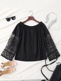 Off Shoulder Lace Panel Button Up Top - Black