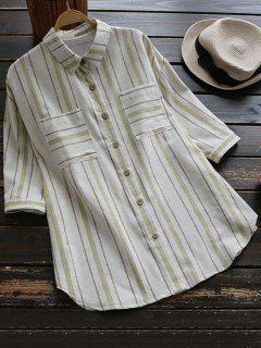 Oversized Linen Stripe Shirt With Pockets - Green
