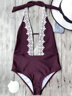 Plunging Neck Backless One Piece Swimsuit - Burgundy S