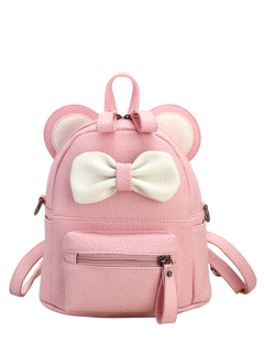 Faux Leather Bowknot Ear Backpack - Pink