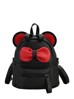 Faux Leather Bowknot Ear Backpack - Black