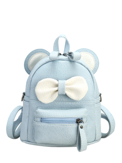 Faux Leather Bowknot Ear Backpack - Light Blue