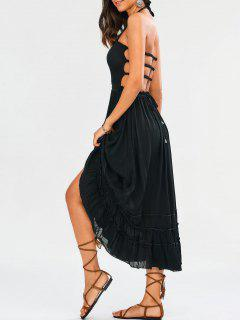 Halter Smocked Open Back Maxi Holiday Dress - Black S