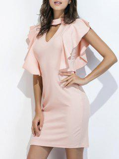 Ruffle Choker Sheath Dress - Light Pink S