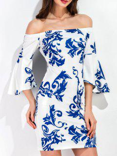 Porcelain Print Flare Sleeve Slinky Dress - White Xl