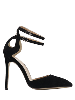 Double Buckle Strap Two Piece Pumps - Black 38