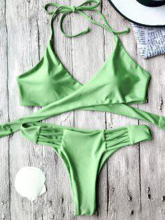 Wrap Bikini Top And Thong Bottoms - Green M