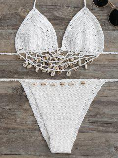 Embellished Crochet String Bikini Set - White