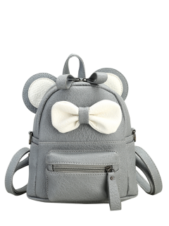 Faux Leather Bowknot Ear Backpack - Gray