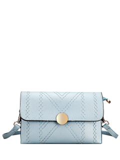 Cross Stitching Flap Crossbody Bag - Light Blue
