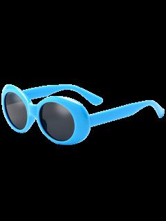 Oval Retro Anti UV Windbreak Sunglasses - Blue
