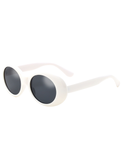 Oval Retro Anti UV Windbreak Sunglasses - White