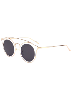 Cat Eye Metal Crossbar Mirrored Sunglasses - Transparent+blue
