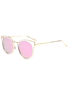 Cat Eye Metal Frame Wrap Mirrored Sunglasses - Pink