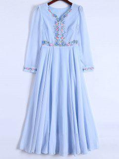 Floral Bordado Manga Larga Vestido De Gasa - Azul Claro M