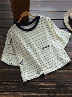 T-shirt Court à Rayures Et à Pattern à Grande Taille - Palomino