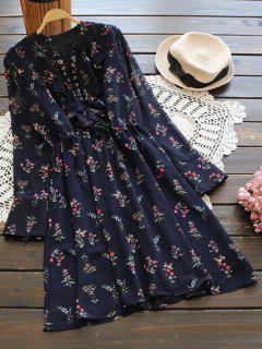 Long Sleeve Lace Up Ruffle Chiffon Dress - Cerulean L