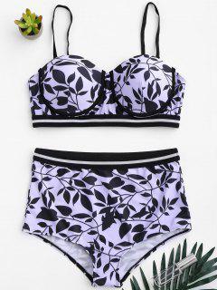 Underwire Plus Size High Waisted Bikini Set - Purple 3xl
