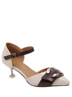 Two Piece Buckle Strap Strange Style Pumps - Apricot 38
