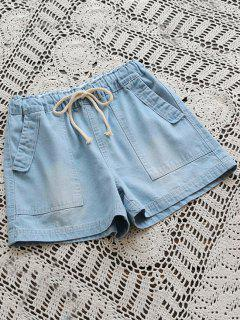 Drawstring Denim Shorts With Pockets - Light Blue