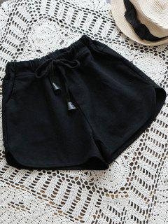 Elastic Drawstring Waist Denim Hot Shorts - Black