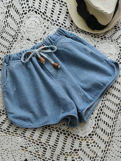 Denim Hot Shorts Mit Elastischer Taille Und Tunnelzug  - Denim Blau