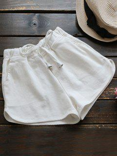 Elastic Drawstring Waist Denim Hot Shorts - White